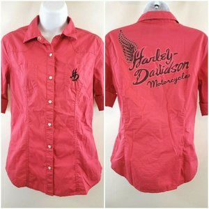 Harley Davidson Pink Pearl Snap Top Size S